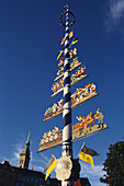 May Pole, Viktualienmarkt, Alter Peter, Munich, Bavaria, Germany