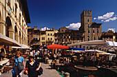 Antiques market, Piazza Grande, Arezzo, Tuscany, Italy