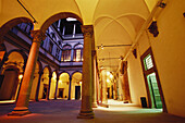 Atrium of Palazzo Strozzi, place for Events and Exhibitions, Florence, Tuscany, Italy