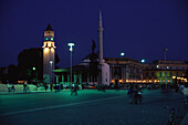 Night at Skanderbeg Square, Et'hem-Bey-Moschee in the background, Tirana, Albania