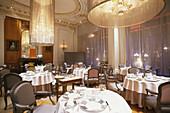 Inside Restaurant Alain Ducasse, Hotel Plaza Athenee, Paris, France