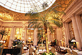 Winter garden, conservatory with glass roof in luxury Hotel Le Meurice, Accomodation, Paris, France