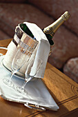 Room service, bottle of champagne and two glasses in Hotel Le Meurice, Accomodation, Luxury, Paris, France