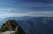 Panoramic view from mount Wendelstein, Bavarian Alps, Upper Bavaria, Bavaria, Germany