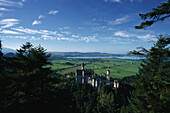 View towards Newschwanstein Castle, Sight, Allgaeu, Bavaria, Germany