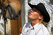 A rider face to face with his horse, Horseriding, Mühlviertel, Upper Austria, Austria