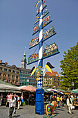 May pole, Viktualienmarkt, Munich, Bavaria, Germany
