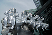 Metal sculptures of babies in Uno City, Vienna International Centre, Vienna, Germany