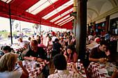 Restaurant The Sidewalk Cafe, Ocean Front Walk, Venice Beach, L.A., Los Angeles, California, USA