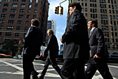 Business men crossing the street, Manhattan, New York City, New York, USA, America