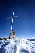 Cheering skier near summit cross, Grawand peak, Schnals Valley, Oetztal Alps, South Tyrol, Italy, MR
