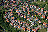 Aerial photo of new houses on a housing estate, Neighborhood, Huenfeld, Rhoen, Hesse, Germany