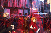 Decorated shop window at Bergdorf Goodman on 5th avenue, holiday season, Manhattan