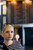 Young woman at airport, Luxembourg