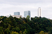 High rise buildings and the European Court of Justice hidden by trees, Kirchberg, Luxemburg
