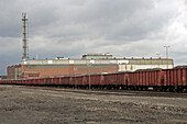 Goods waggons standing in a long row at the harbour, Duisburg, North Rhine-Westphalia