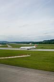 Airplane on airfield, Zurich, Switzerland
