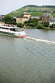 Excursion boat on Moselle, Traben-Trarbach, Rhineland-Palatinate, Germany
