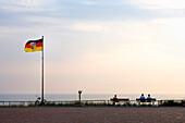 View over promenade to North Sea, Borkum, East Frisian Islands, Lower Saxony, Germany