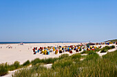View over beach with beach chairs, Juist Island, East Frisian Islands, Lower Saxony, Germany