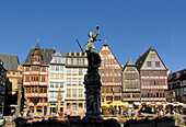 View of the Town Hall square, Roemerzeile in Frankfurt, Hesse, Germany