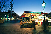 Viktualienmarkt in the evening, Munich, Bavaria, Germany