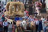 Traditional Harvest Wagon, Schlitz International Festival, Schlitzerlaender Trachten- und Heimatfest, Schlitz, Vogelsberg, Hesse, Germany