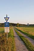 Road to German Border Watch Tower, Deutsch-Deutsche Mahn- und Gedenkstaette Behrungen, on Bavaria - Thuringia Border, Rhoen, Germany