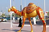 A sculptur of a camel, Modern Art in Abu Dhabi, United Arab Emirates, UAE