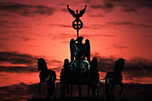 Quadriga, Brandenburg Gate at dusk, Berlin, Germany