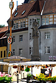 Market square in Suhl with monument of weapon blacksmith, Thuringia, Germany