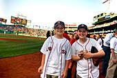 Two Boys at Fenway Park Stadium, Boston, Massachusetts, USA
