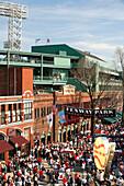Fans walking to a baseball game, Gameday, Fenway Park, Yawkey Way, Boston, Massachusetts, USA