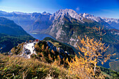 Panoramic view over Koenigssee (King's Lake) with Watzmann massif  and Steinernes Meer, Berchtesgaden National Park, Bavaria, Germany