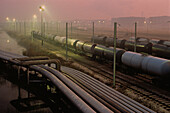 Pipelines and tank wagons, refinery, Fos-sur-Mer, near Marseille, Bouches-du-Rhone, Provence, France