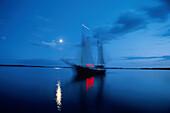 Sailing ship at night, Denmark