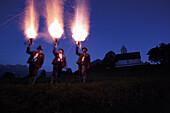 Firecracker shooting near St. Magarethen, Brannenburg, Upper Bavaria, Germany