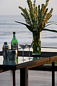 Close up of two cocktail glasses and a Martini bottle, near Uluwatu, Bali, Indonesia