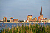 View over river Warnow to Old Town, Rostock, Mecklenburg-Western Pomerania, Germany
