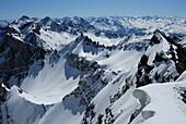 View from Holzgauer Wetterspitze over Lechtal Alps, Vorarlberg, Austria
