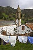 Landscape with church in the village of San Andrés de Teixido, pilgrimage church, Rías Altas, Galicia, Spain