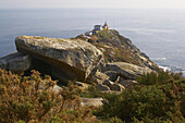 Coastal landscape, the most western point of Iberia, Cabo Finisterre, with lighthouse, Costa da Morte, Galicia, Spain