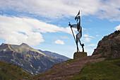 Sculpture of a pilgrim, Puerto de Somport, Huesca, Aragon, Spain