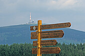 Sign post at hiking trail to the Brocken, Torfhaus, Harz Mountains, Lower Saxony, Germany