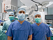 Operation team before a neurosurgical procedure, INI Hanover, Lower Saxony, Germany