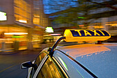 Taxi at railway station forecourt, Hanover central station, Lower Saxony, Germany
