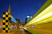 Tram stop Steintor at night, Hanover, Lower Saxony, Germany