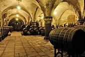 Inside the wine cellar at Cloister Eberbach, Rheingau, Hesse, Germany