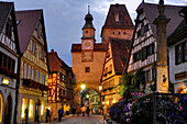 Markus Tower and Roder Arch in the evening, Rothenburg ob der Tauber, Franconia, Bavaria, Germany