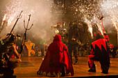 Correfoc, fireworks, Festa de la Merce, city festival, September, Placa de Sant Jaume, Barri Gotic, Ciutat Vella, Barcelona, Spain